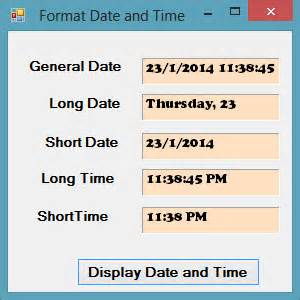 format date now vb net visual basic 2015 lesson 20 format functions visual basic