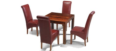 cube dining set with leather chairs cube sheesham 90 cm dining table and 4 chairs quercus living