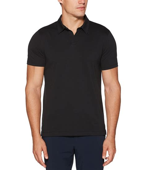 Osella Polo Shirt Solid Black perry ellis solid open collar sleeve polo shirt