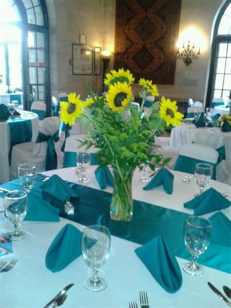 Lovely Sunflower, yellow and teal Wedding Centerpieces