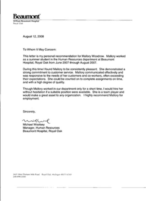 Recommendation Letter For Hrm Student Recommendations And Recognition Mallory Woodrow Mallory Woodrow