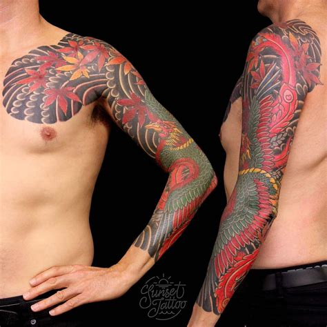 traditional phoenix tattoo japanese sleeve by tom mcmillan