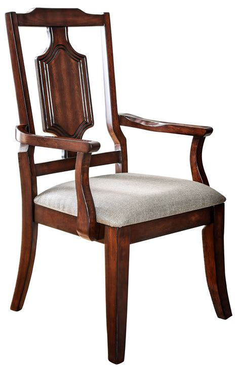 Dining Chairs Traditional Maderan Traditional Brown Cherry Dining Arm Chair Set Of 2 Ebay
