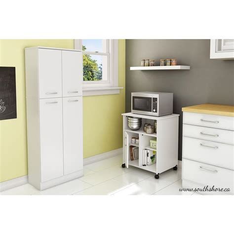 south shore axess microwave cart with storage on wheels