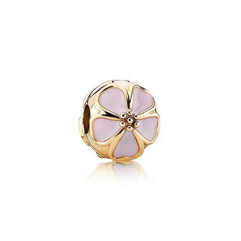 Pandora Cherry Blossom Clip Charm P 480 cherry blossom clip pink enamel 14k gold pandora jewelr