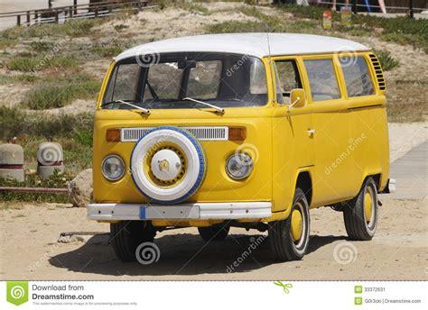 van volkswagen vintage yellow volkswagen vintage van summer beach editorial