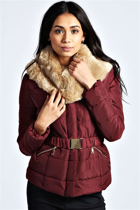 Faux Fur Collar Padded Jacket boohoo womens evie faux fur collar belted padded