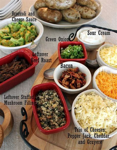 toppings for baked potatoes bars baked potato bar recipe dishmaps
