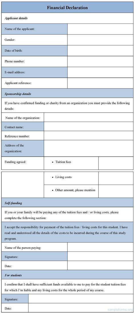 financial declaration form financial declaration form sle forms