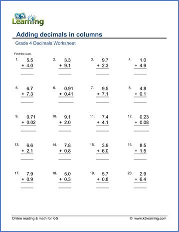 printable math worksheets with decimals grade 4 math worksheet decimals adding decimals in