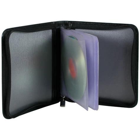 porta cd custodia porta cd dvd in pelle con zip nero acciaio