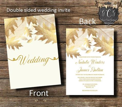 printable wedding invitations gold gold wedding invitation gold leaves invitation fall
