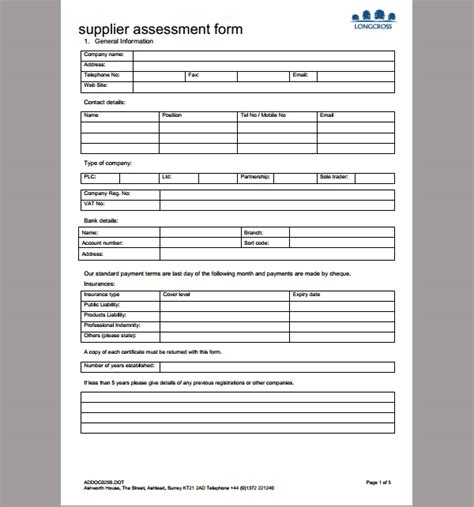 vendor risk assessment template blank checklist template