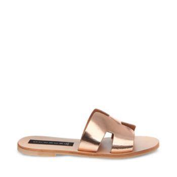 leather flat slip on sandal steve madden greece