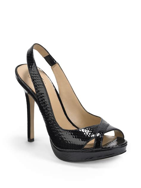 avenue shoes saks fifth avenue snakeembossed patent platform sandals in