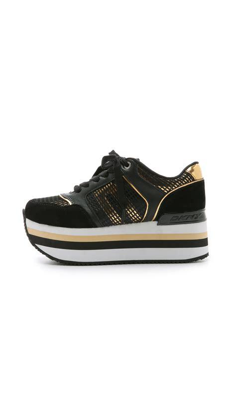 dkny platform sneakers dkny runway platform sneakers black gold in