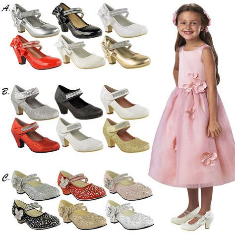 childrens high mid heel diamante shoes
