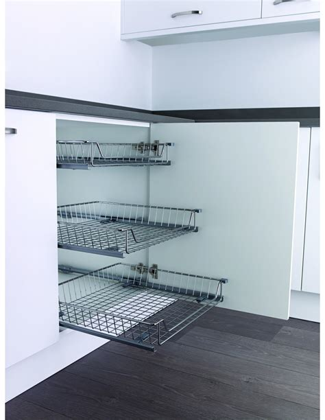kesseböhmer base cabinet pull out storage kessebohmer pull out tray basket 15kg chrome 500mm unit