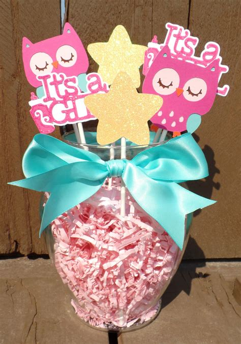 Teal And Pink Owl Centerpiece Owl Baby Shower Decorations Owl Centerpieces For Baby Shower