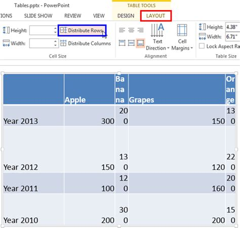 html layout buttons in a row distribute rows and columns in powerpoint 2013 for windows