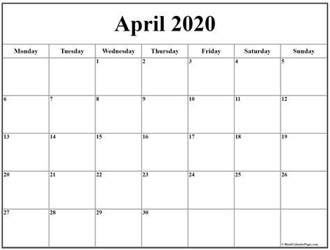 april  monday calendar monday  sunday