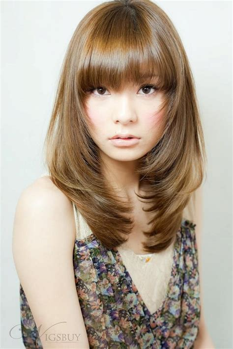 medium straight hairstyles with bangs asian medium length hairstyles with bangs and layers for