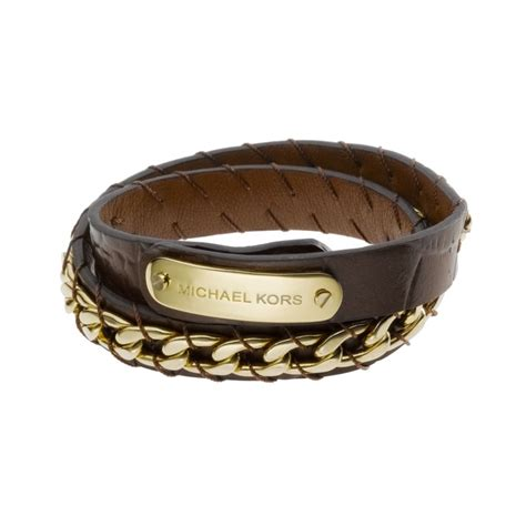 Michael Kors Gold Tone Chocolate Leather Double Wrap Bracelet in Gold   Lyst