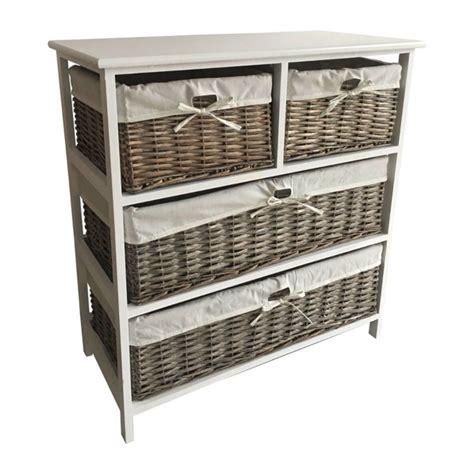 wicker 4 basket cabinet 4 wicker baskets wide wooden storage cabinet grey buy