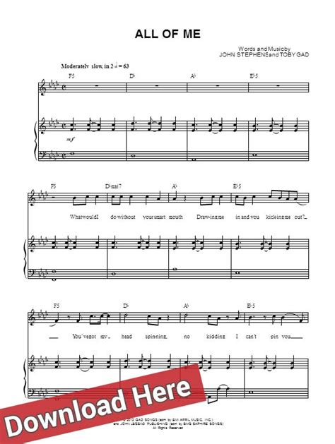 free all of me john legend piano sheet music tutorial john legend all of me piano sheet music notes chords