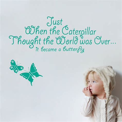 Wallpaper Stiker 10mtr X 45cm 31 just when the caterpillar wall sticker quote by