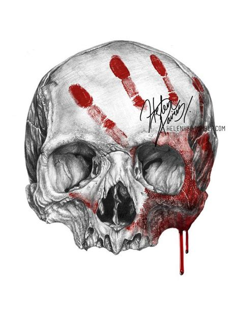 skull drawings skull and blood drawing by helenhsd on