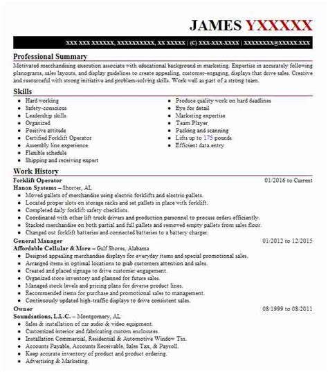 sle resume for production operator forklift operator resume forklift operator resume sle