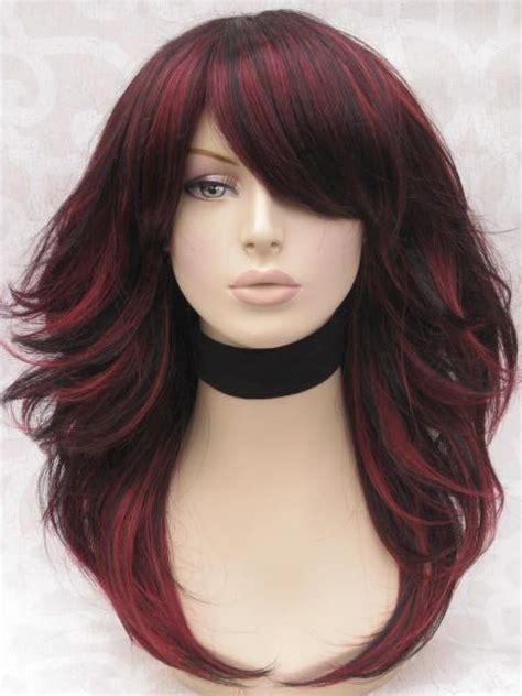 ambree and aumbeee hair color love the color and style red highlights in black hair