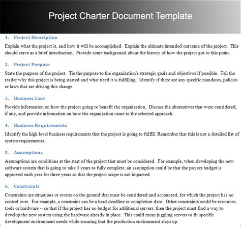 Project Template Document Sle Project Charter Document Template Project Charter