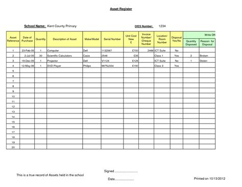 asset register card templates 8 best images of asset template asset register excel