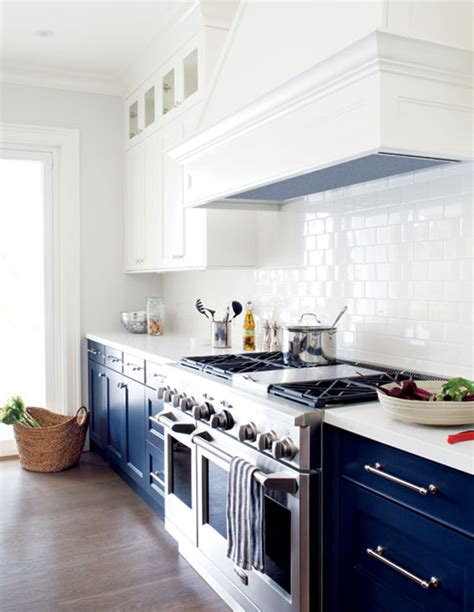 Kitchen Theme Ideas by Having A Moment Navy And White Kitchen Cabinets Lauren