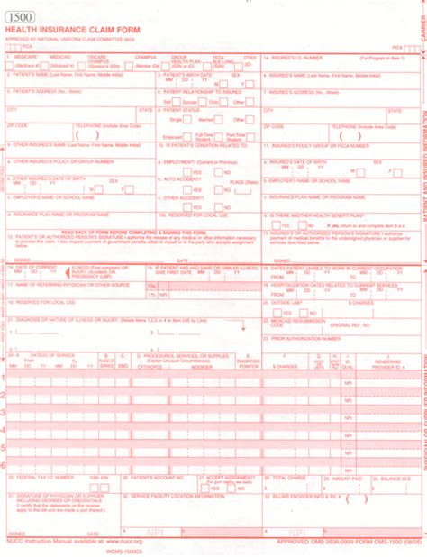 hcfa 1500 template fillable ub 04 claim form free the knownledge