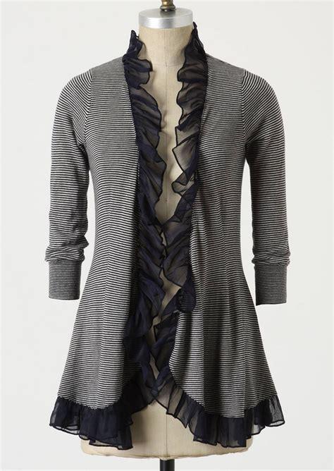 Striped Sweater Cardigan striped ruffled splicing cardigan fairyseason