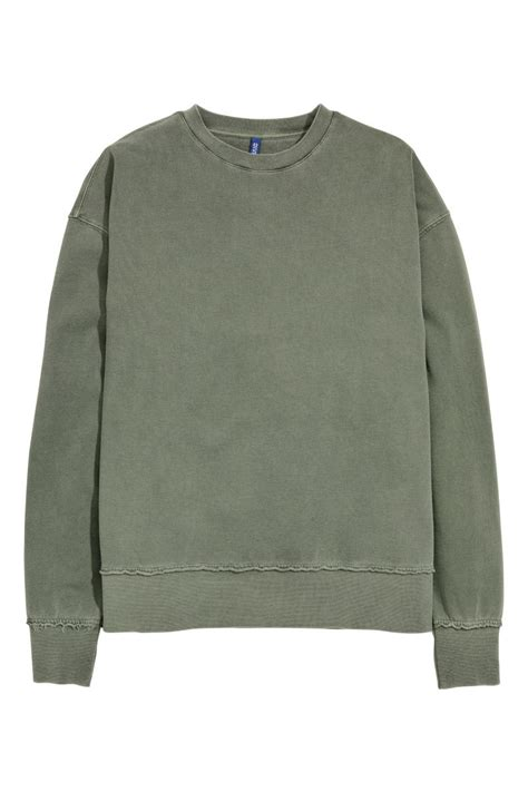 Hm Sweater Invert Fit Xl sweatshirt khaki green sale h m us