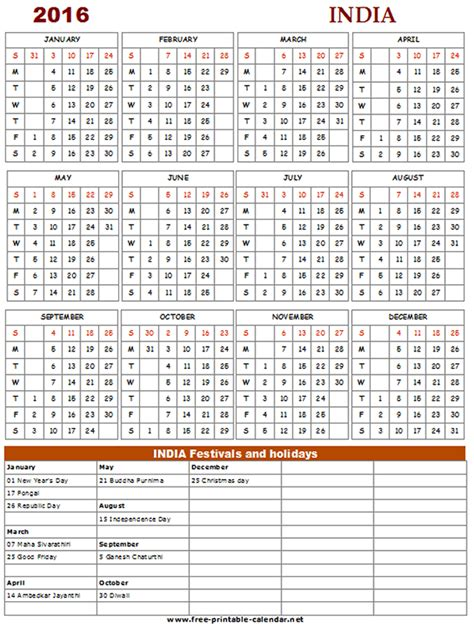 Calendar 2016 Holidays India Printable Calendar 2016 With Holidays 187 Calendar Template 2017