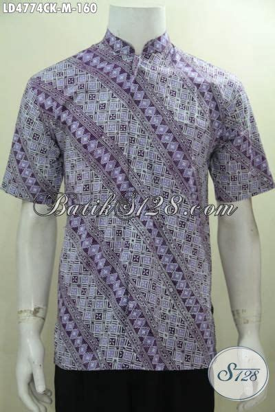 Kemeja Kokoh Lengan Pendek Purple Baju Koko Ungu Muda Kk04 hem batik kerah shanghai warna ungu motif parang baju batik lebaran lengan pendek trendy proses