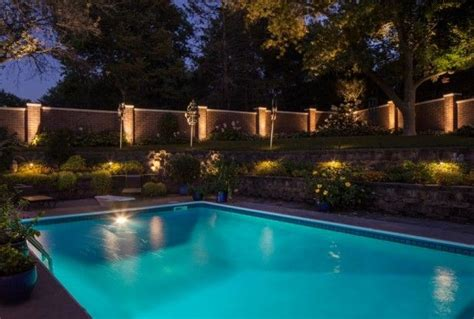 amazing outdoor recessed lighting around pool design