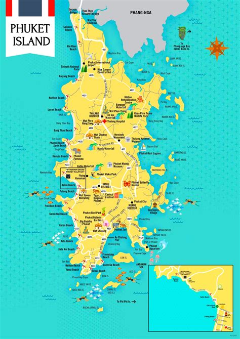 map of and attractions phuket tourist attractions map