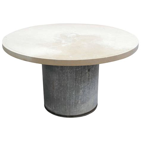 galvanized metal dining table at 1stdibs industrial galvanized metal and limestone garden table for