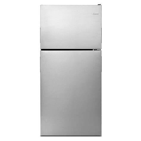 amana 18 2 cu ft top freezer refrigerator in stainless
