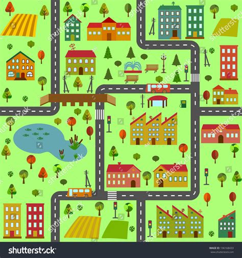 map of the city of illustration map city different houses stock