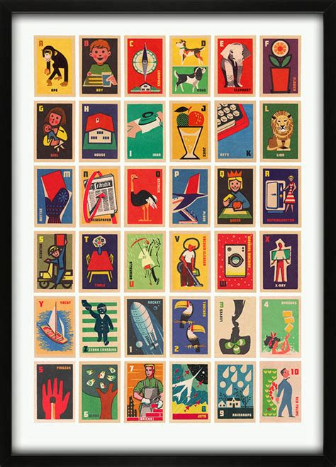 the illustrated a z of vintage matchbox labels a to z illustrated alphabet print by 67 inc