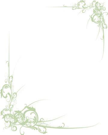 Bordir Elegan White green scrolls along corners of a white background