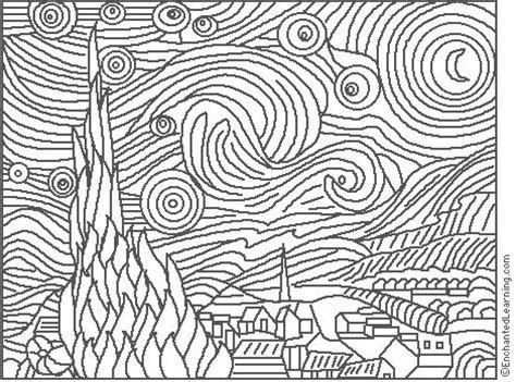 Starry Coloring Pages gogh starry coloring page enchantedlearning