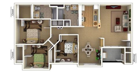 Two Floor Plans Two Bedroom Apartment Layout Google Search Houses